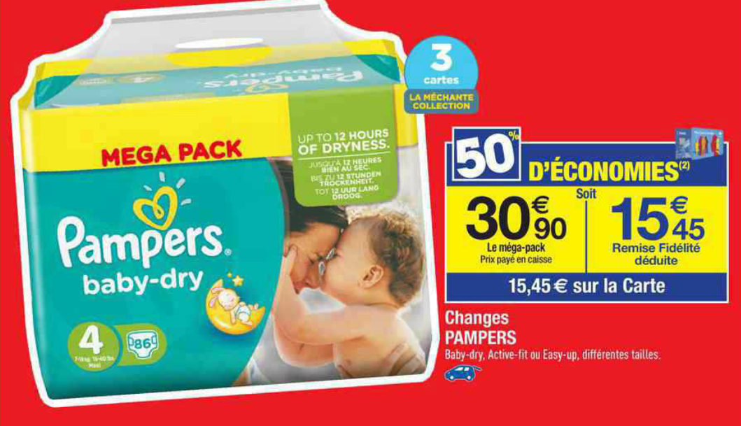 Carrefour 1 paquet de pampers active fit 13 45 au - Bon de reduction couches pampers a imprimer ...